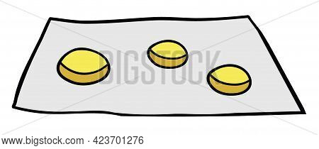 Cartoon Vector Illustration Of Beggar And Coins. Colored And Black Outlines.