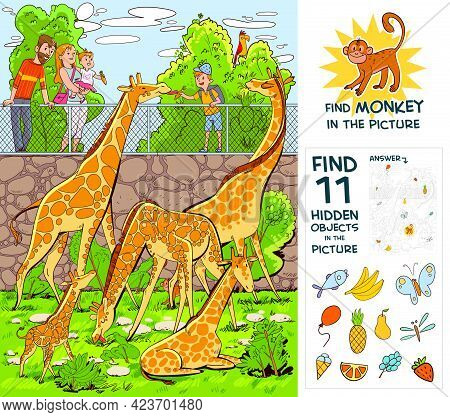 People Feed Giraffes At The Zoo. Find Monkey. Find 10 Hidden Objects In The Picture. Puzzle Hidden I