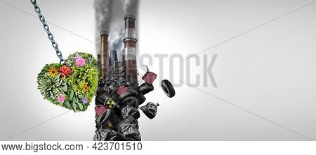 Environment And Pollution As A Group Of Green Plants Shaped As A Heart Destroying A Polluted Wall Of