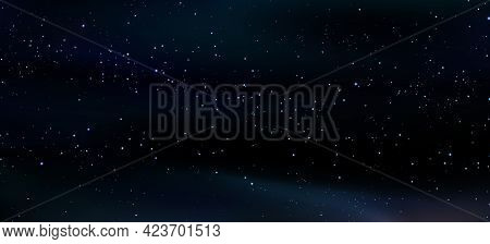 Deep Dark Cosmos, Abstract Cosmic Background. Bright Stars, A Realistic Starry Sky. Stars Shining. W