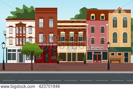 City Street Building Houses Architecture Empty Center Road. Urban Cityscape Spring Or Summer Morning