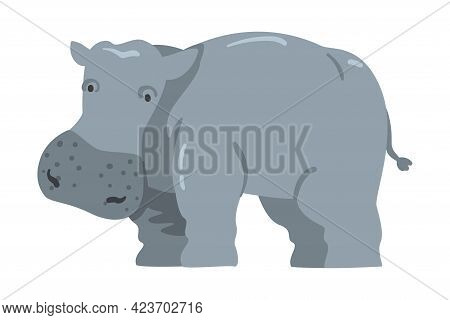 Cute Hippopotamus African Animal, Wild Herbivore Jungle Animal Cartoon Vector Illustration