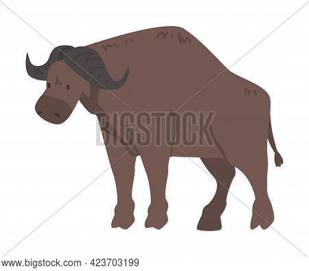 Cute Buffalo African Animal, Wild Herbivore Jungle Animal Cartoon Vector Illustration