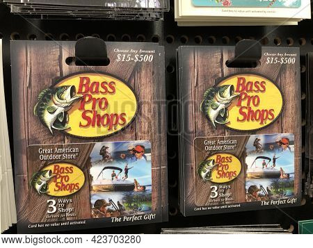 Indianapolis - Circa February 2021: Bass Pro Gift Cards. Bass Pro Gift Cards Are Accepted Online Or