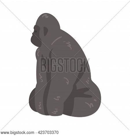 Cute Gorilla African Animal, Wild Jungle Animal Cartoon Vector Illustration