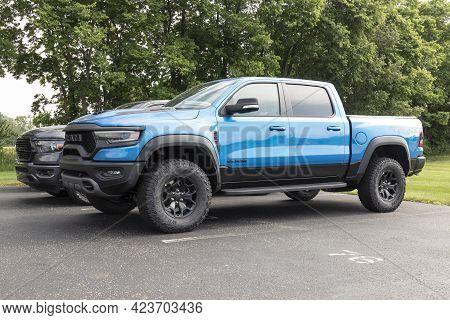 Kokomo - Circa June 2021: Ram 1500 Display At A Chrysler Ram Dealership. The Stellantis Subsidiaries