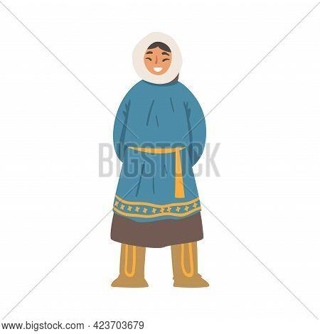 Cheerful Polar Girl Character, North Child In Traditional Eskimos Clothing Cartoon Vector Illustrati