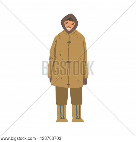 Eskimo Man Character, North Man Wearing Authentic Traditional Outfit Cartoon Vector Illustration