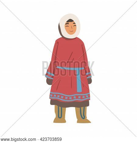 Cheerful Eskimo Girls Character Wearing Traditional Authentic Clothing Cartoon Vector Illustration
