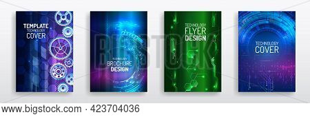 Colorful Layout Futuristic Brochures, Flyers, Placards. Contemporary Science And Digital Technology