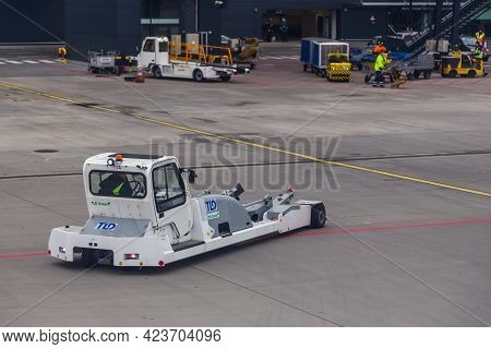 Poland, Gdansk, Lech Walesa Airport - 11 March 2016: Airplane Pushback Truck At Airport. A Special,
