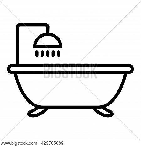 Bathtub. Bath Black Line Icon, Vector Illustration