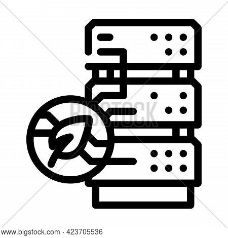 Server Chia Cryptocurrency Line Icon Vector. Server Chia Cryptocurrency Sign. Isolated Contour Symbo