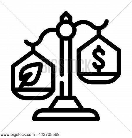 Money Or Chia Cryptocurrency Balance Scale Line Icon Vector. Money Or Chia Cryptocurrency Balance Sc