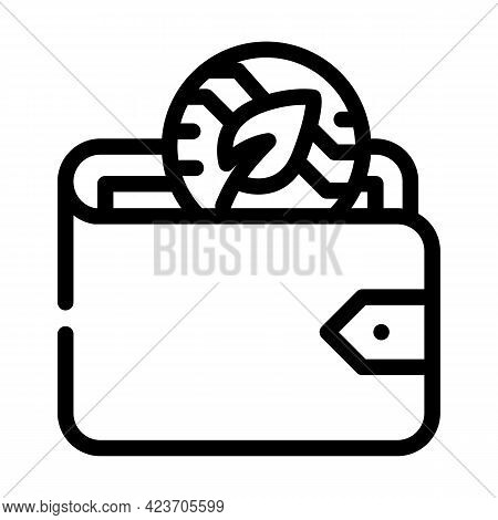 Wallet Accessory Chia Cryptocurrency Line Icon Vector. Wallet Accessory Chia Cryptocurrency Sign. Is