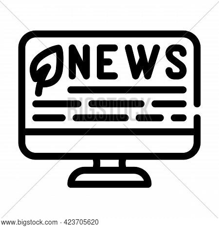 News Internet Chia Cryptocurrency Line Icon Vector. News Internet Chia Cryptocurrency Sign. Isolated