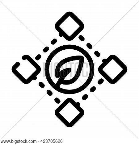 Blockchain Chia Cryptocurrency Line Icon Vector. Blockchain Chia Cryptocurrency Sign. Isolated Conto