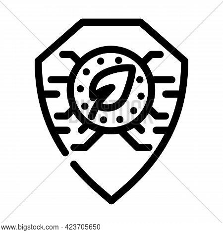 Digital Protection Chia Cryptocurrency Line Icon Vector. Digital Protection Chia Cryptocurrency Sign