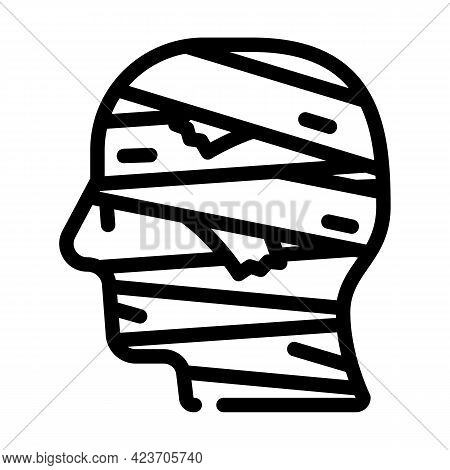 Mummy Fear Line Icon Vector. Mummy Fear Sign. Isolated Contour Symbol Black Illustration