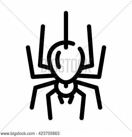 Spider Fear Line Icon Vector. Spider Fear Sign. Isolated Contour Symbol Black Illustration