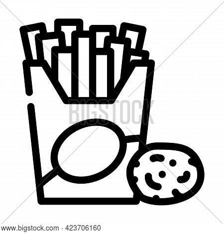 Fried Potato Gluten Free Line Icon Vector. Fried Potato Gluten Free Sign. Isolated Contour Symbol Bl