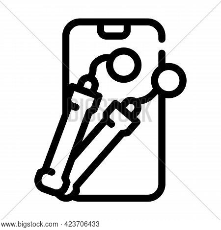 Electronic Skipping Rope Gym Device Line Icon Vector. Electronic Skipping Rope Gym Device Sign. Isol