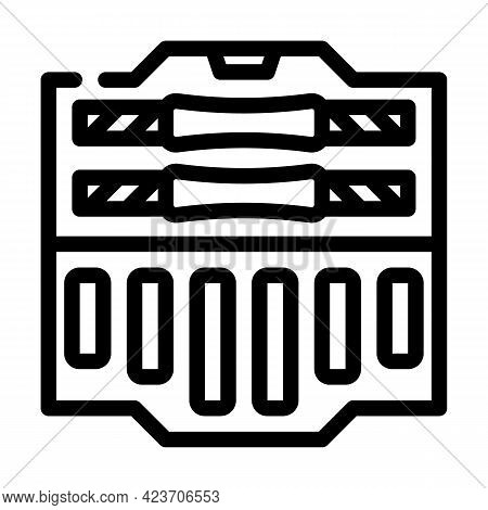 Suitcase With Prefabricated Dumbbells Gym Equipment Line Icon Vector. Suitcase With Prefabricated Du