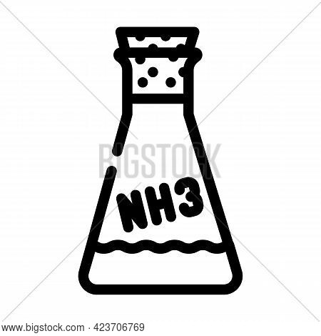 Ammonia Chemical Flask Line Icon Vector. Ammonia Chemical Flask Sign. Isolated Contour Symbol Black