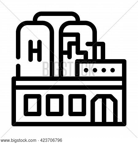 Factory Production Hydrogen Line Icon Vector. Factory Production Hydrogen Sign. Isolated Contour Sym