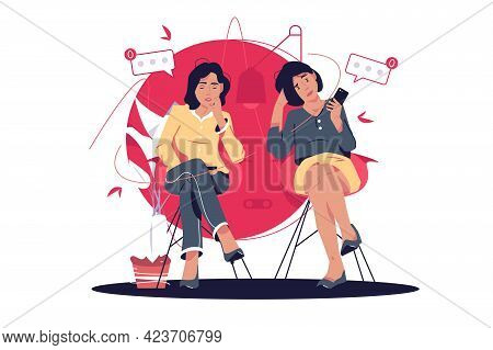 Tired People Waiting For Sms Notification Vector Illustration. Women In Bank Line Tired Of Waiting F