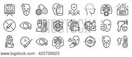 Set Of Medical Icons, Such As Face Biometrics, Medical Mask, Face Accepted Icons. Lungs, Eye Target,