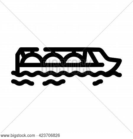 Gas Hydrogen Carrier Ship Line Icon Vector. Gas Hydrogen Carrier Ship Sign. Isolated Contour Symbol