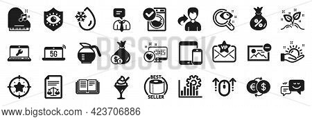 Set Of Business Icons, Such As Support Service, Coffeepot, Freezing Water Icons. Happy Emotion, Cash