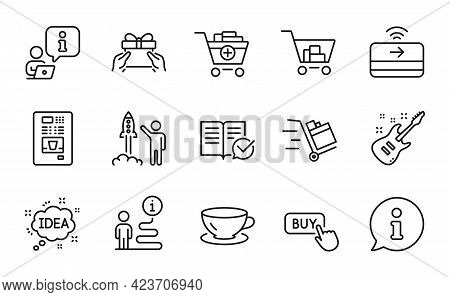 Line Icons Set. Included Icon As Espresso, Launch Project, Push Cart Signs. Coffee Vending, Electric