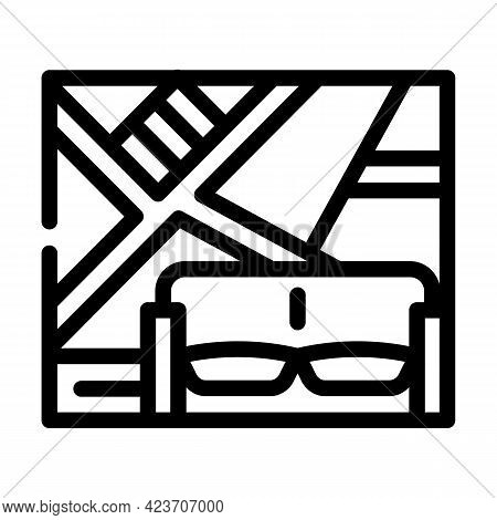 Wall With Slanting Shelves Line Icon Vector. Wall With Slanting Shelves Sign. Isolated Contour Symbo