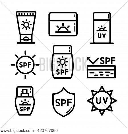 Cosmetic Sun Icon Set