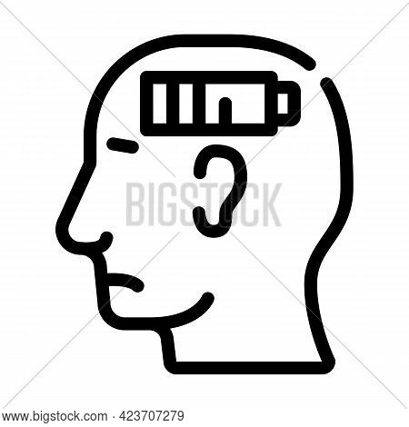 Lack Of Strength Neurosis, Low Battery Line Icon Vector. Lack Of Strength Neurosis, Low Battery Sign
