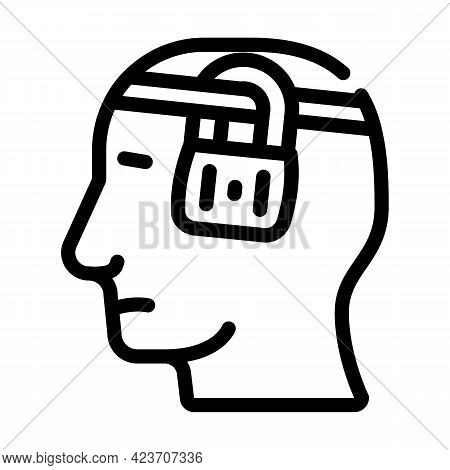 Buried Thoughts Neurosis Line Icon Vector. Buried Thoughts Neurosis Sign. Isolated Contour Symbol Bl