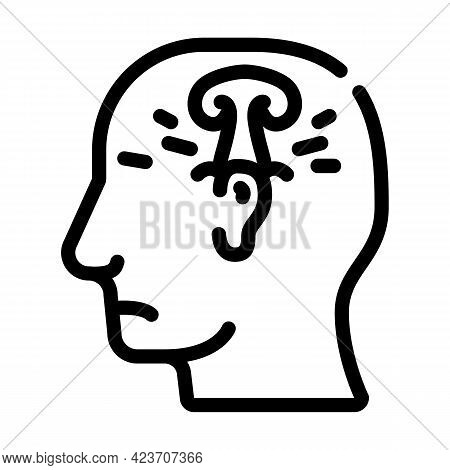 Post War Stress Or Explosion Neurosis Line Icon Vector. Post War Stress Or Explosion Neurosis Sign.