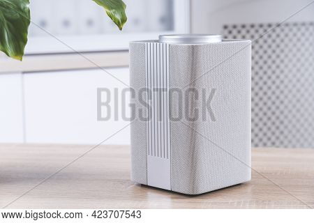 Smart Speaker On The Table In The Room, Gadget In The Apartment Close-up,