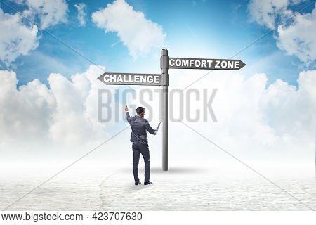 Businessman choosing between leaving comfort zone or not