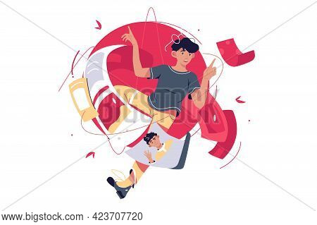 Document Files In Reverse Way Vector Illustration. Guy In Glasses Surrounded With Papers With Info F