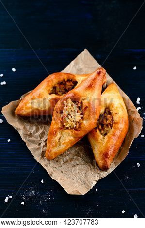 Russian Pie Rasstegay With A Hole On Top, Traditional Russian, Slavic Pies With Hole In Center. Rass