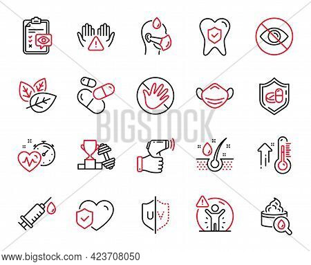 Vector Set Of Healthcare Icons Related To Clean Hands, Medical Mask And Serum Oil Icons. Not Looking