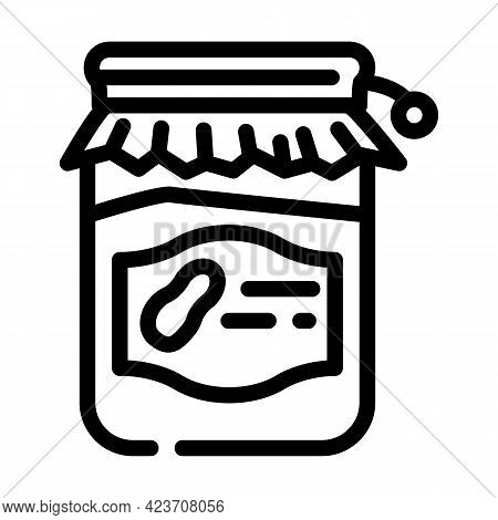 Homemade Peanut Butter Line Icon Vector. Homemade Peanut Butter Sign. Isolated Contour Symbol Black