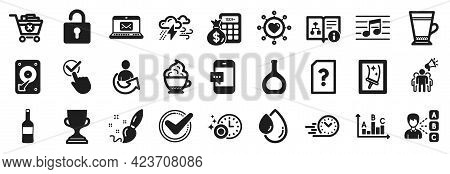 Set Of Simple Icons, Such As Dishwasher Timer, Cappuccino Cream, Confirmed Icons. Cognac Bottle, Opi
