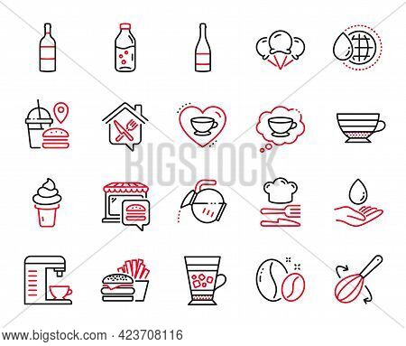 Vector Set Of Food And Drink Icons Related To Water Care, Cooking Whisk And Ice Cream Icons. Coffee