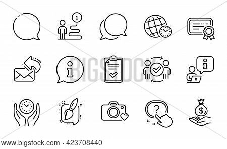 Education Icons Set. Included Icon As Photo Camera, Painting Brush, Certificate Signs. Checklist, Sa