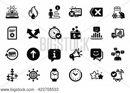 Vector Set Of Technology Icons Related To Smile, Time Management And Reject Access Icons. Stars, Meg
