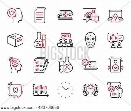 Vector Set Of Technology Icons Related To Accounting, Thoughts And Romantic Talk Icons. Ranking, Fac